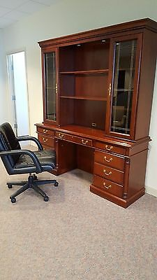 DESK CREDENZA AND HUTCH OFS BRAND WITH BOOKCASES AND GLASS -