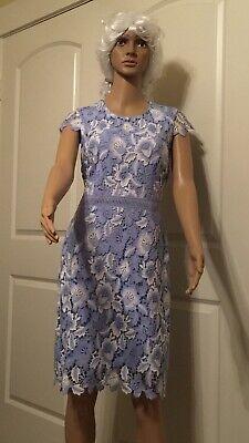 Karl Lagerfeld Crochet Sheath Women's dress Knee length Floral Size 6 Sky-blue