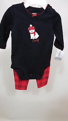 2 pc baby girl Holiday Pajama set pants sleepwear hat size 3 mon by Carters - Baby Girl Holiday Pajamas