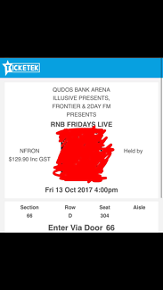 2x RNB Friday live tickets