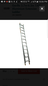 12ft OR 3.7m-6.5m GORILLA EXTENTION LADDER 150kg.new used once Ottoway Port Adelaide Area Preview
