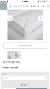 Au Lit Fine Linens Queen Featherbed mattress topper