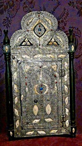 ANTIQUE 19c RARE MUSEUM QUALITY ISLAMIC QAJAR SILVER DECORATIVE WEDDING MIRROR