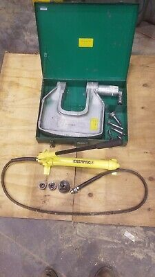 Greenlee 1732 Hydraulic Knockout Punch W Case Dies Enerpac P-39 Pump - Nice