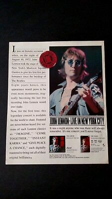 JOHN LENNON-LIVE IN NEW YORK CITY  (1986) RARE ORIGINAL PRINT PROMO POSTER AD