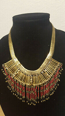 Express gorgeous Collared Statement Necklace with Maroon/Black beaded fringe ](Maroon Necklace)