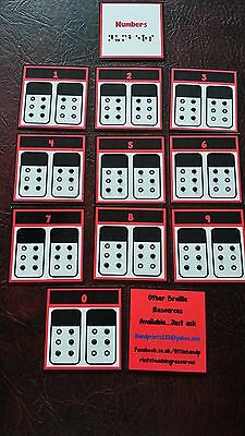 BRAILLE FLASH CARDS-  NUMBERS - RAISED DOTS Visually impaired SEN EYFS Braille-flash