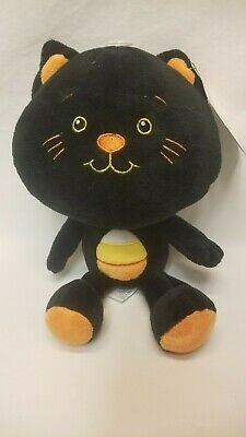 American Greetings Black Cat Plush Halloween Stuffed Animal Toy Candy Corn Tummy - Halloween Black Cat Stuffed Animal