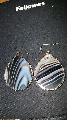 14k Gold Genuine Agate (Iris & Lily Sterling Silver Genuine Agate Gemstone 14k Gold-Plated Earrings-NEW )
