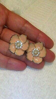 Shiny Peach Flower Clear Crystal Center Gold Tone Trim Stud Earrings ()