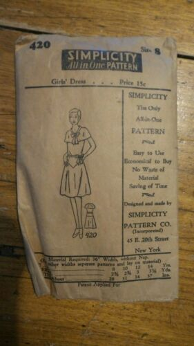 Antique SIMPLICITY PATTERN #420, Girl