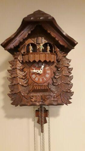 Original Cuckoo Clock Germany Romance Swiss Musical Movement Black Forest