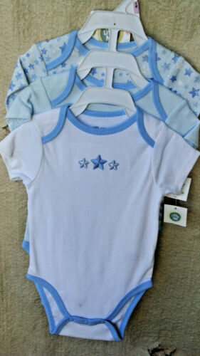 LITTLE ME 100% Cotton LT BLUE LITTLE STAR 3 pack Cuddly Bodysuits SIZE 9 MO NWT