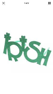 Novelty Glitter Green IRISH Sunglasses St Patricks Day Carnival Costume Prop - St Patricks Day Sunglasses