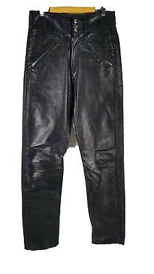 Vintage Men's Amf Harley Davidson Leather Pants Sz 30 Folsom Black Biker Rare