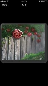 Acrylic painting, Rose painting, Hand painting, Nature painting