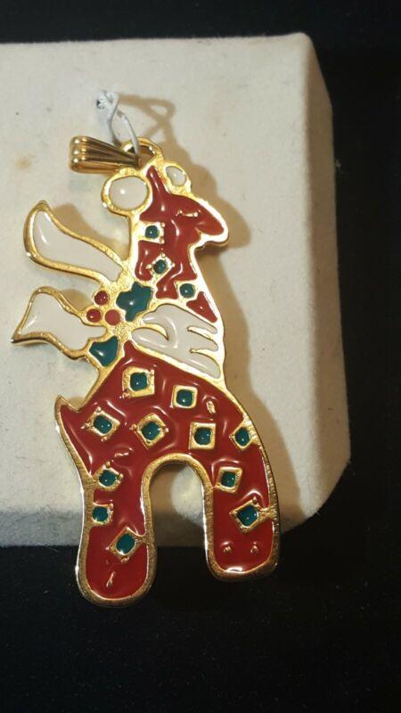 Wallace Silversmith  Giraffe Christmas Ornament Pendant Goldtone