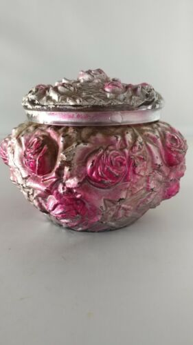 Vintage Goofus Glass Cabbage Rose Jewelry Powder Trinket Box