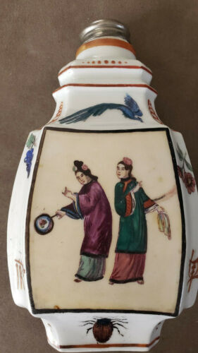 """1850´s Rare Antique Chinese Handpainted Tea Caddy with lid. 8"""""""