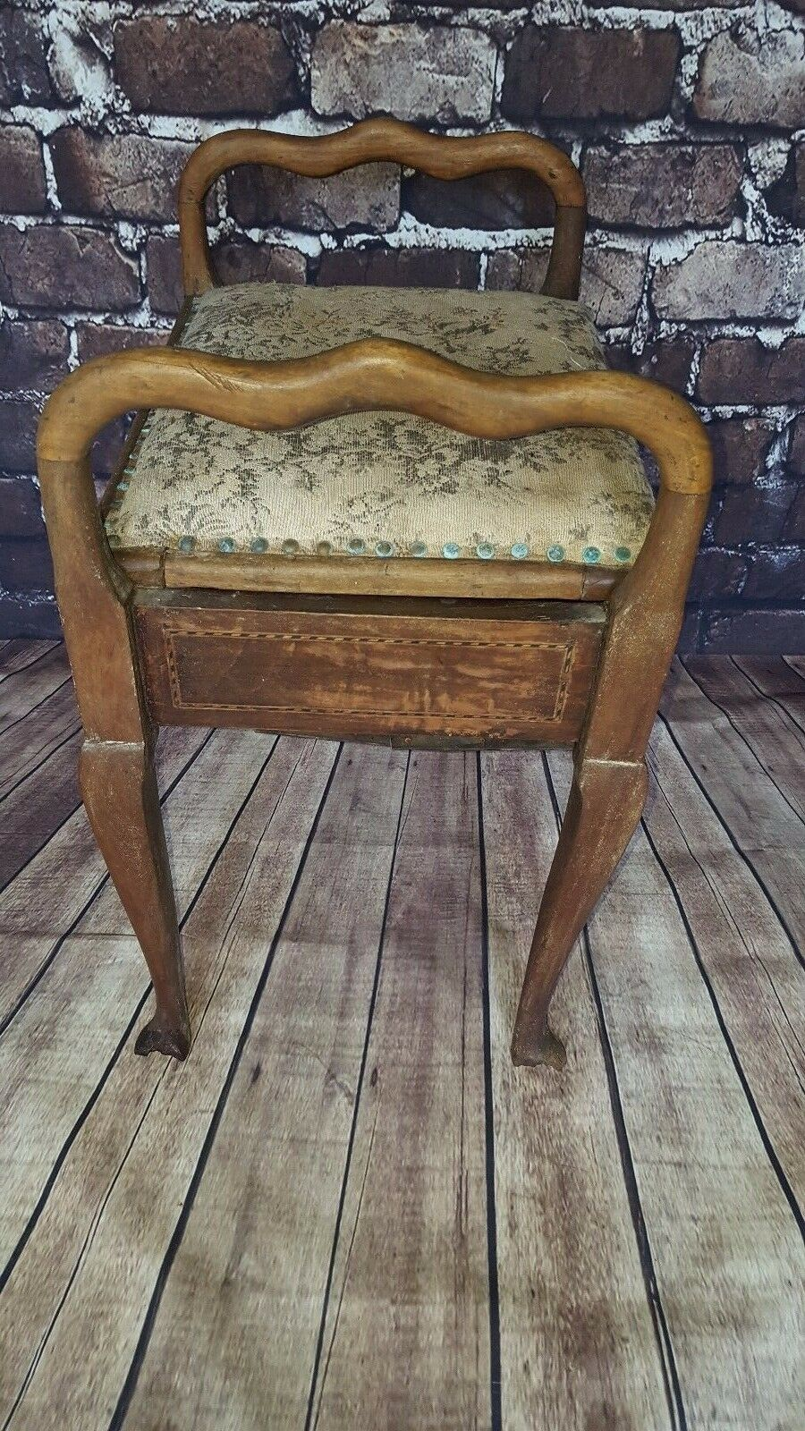 Antique Edwardian Victorian Piano Dressing Table Stool Wooden Oval Back Seat