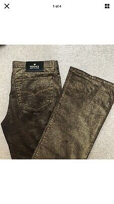Versace Jeans Couture Gold Over Brown Corduroy Straight Leg Jean UK SIZE 10