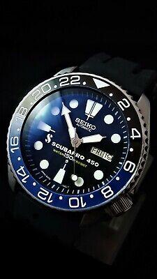 Vintage SEIKO 7002 Scuba Divers WATCH Scuba Pro 450 Dial mod *CERAMIC GMT Bezel