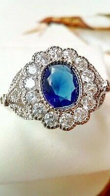 AD193 925 sterling silver Art Deco Vintage White Blue Sapphire Cocktail Ring p