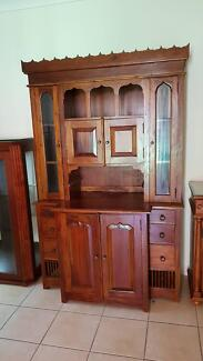 Solid Timber Side Cupboard/Hutch, large 2 pieces
