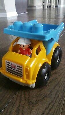 MEGA BLOKS dump truck with man construction blue yellow EUC with bonus BLOCKS