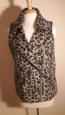 Animal With Womens (Womens vest animal print gray with black with collar assymtrical front zipper)