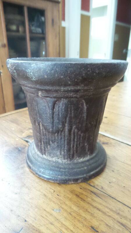 "Antique CAST IRON MORTAR, 4 1/4"", Mining, Durango, Colorado"