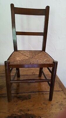 Antique Child's Wooden Chair with Rush Seat. Excellent Condition