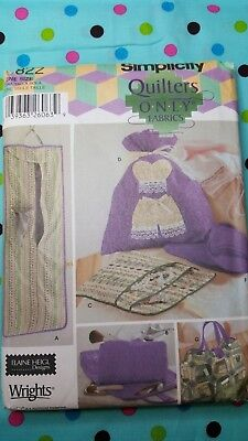 Simplicity 5822 Pattern Garment Bag Cosmetic Lingerie Jewelry Roll Quilt UNCUT