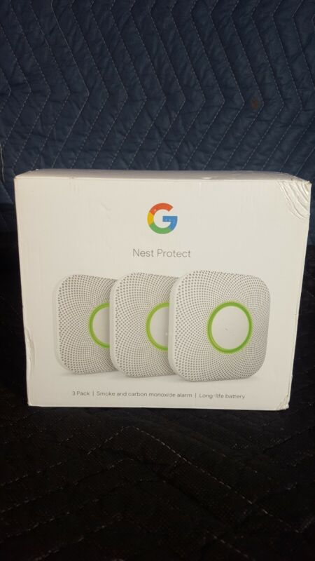 Google Nest Protect Battery Smoke and Carbon Monoxide Alarm - White (3 Pack)