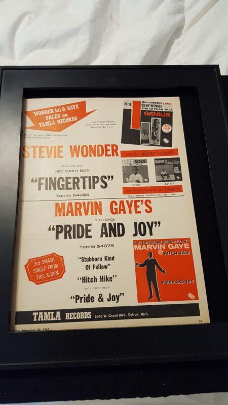 Stevie Wonder/Marvin Gaye Rare Original Tamla Records Promo Poster Ad Framed!