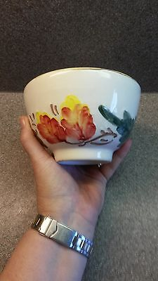 Sur La Table Hand Painted Soup Bowl Floral Flowers Leaves
