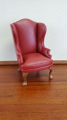 Dollhouse Miniature Wing Back Arm Chair Dark Red 1:12 Scale Furniture