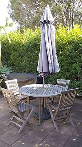 Teak Outdoor garden setting - table, chairs and umbrella Albion Brisbane North East Preview