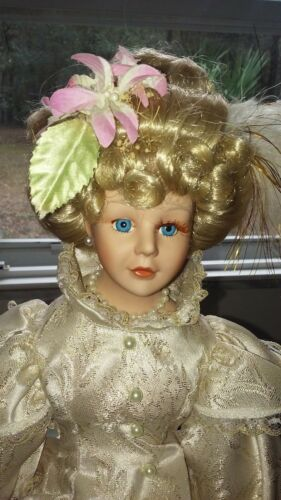 """Larger Porcelain Doll on Stand 22"""" Faux Pearl Buttons Earrings & Trim"""