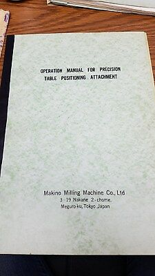 Makino Operators Manual For Precision Table Positioning Attachment
