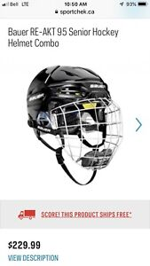 Bauer RE-AKT 95 Senior Hockey Helmet Combo - Large