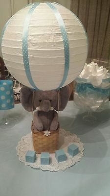Baby Shower Centerpiece Elephant Hot Air Balloon pick a Polka Dot or Night - Hot Air Balloon Baby Shower Decorations