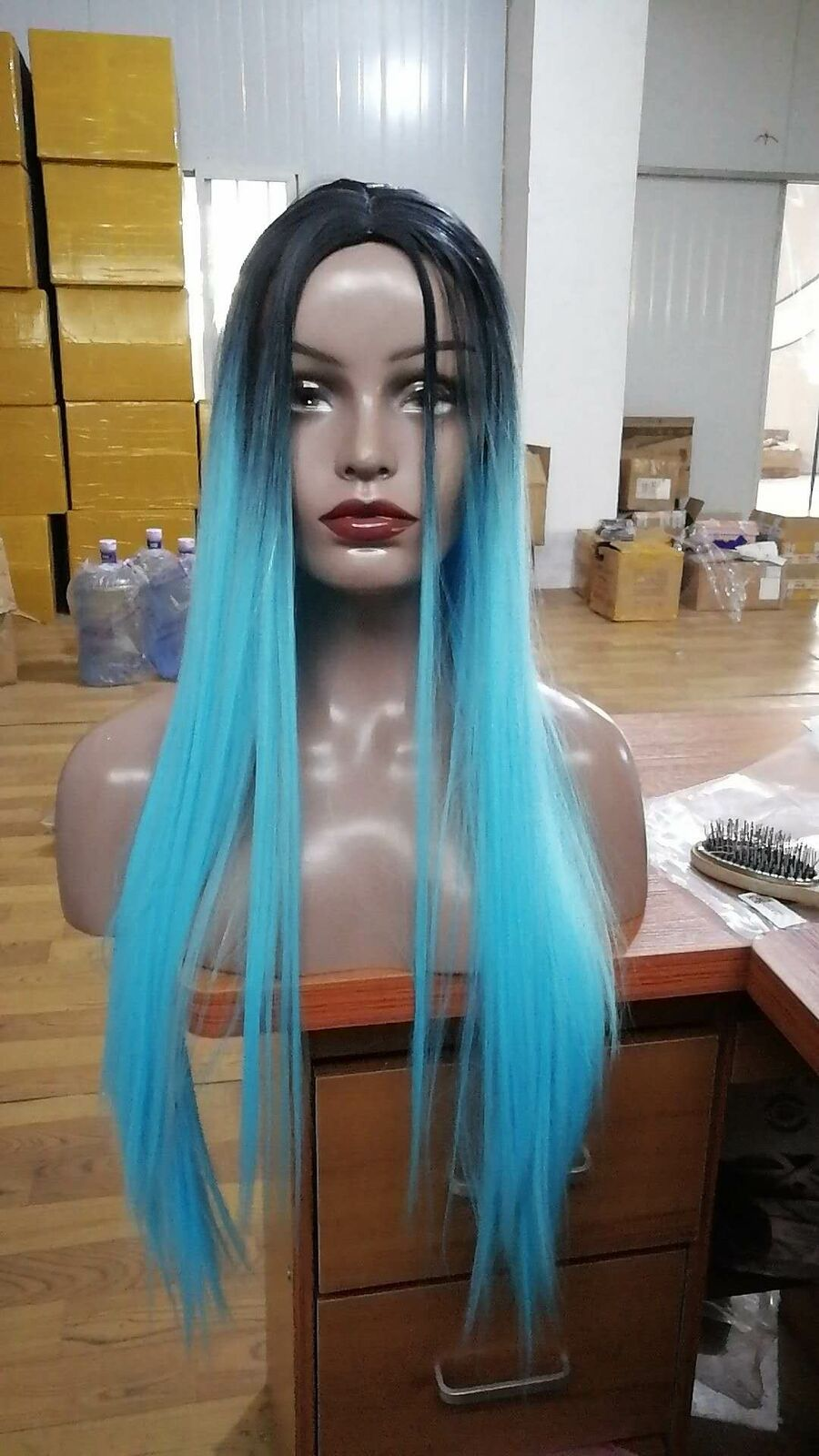 Women Long Straight Synthetic Wigs Black Root Ombre Blue ...