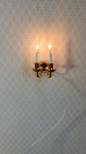 Dollhouse Miniature Sconce Double Candle Gold 12 Volt 1:12 Wall Light