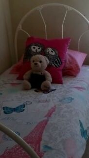 Single Slated Wrought iron Bed + Bedside Table+Ikea Desk Fairview Park Tea Tree Gully Area Preview