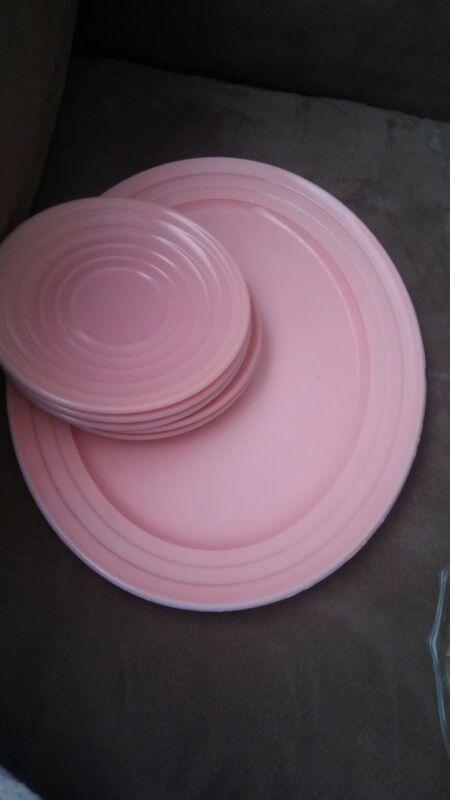 Hazel Atlas ModernTone Pink Platonite Plates