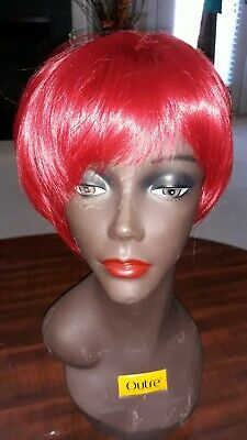 Short Red Wig Halloween (Synthetic short tapered wig hair with bang Halloween Drag Red Burgandy)