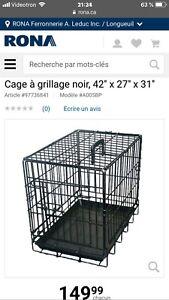 Cage pour chien à grillage noir 42''x27''x31''
