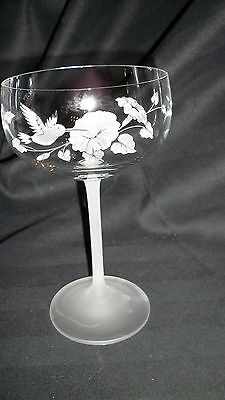Avon~HUMMINGBIRD Pattern~CRYSTAL & Frosted~Wine~CHAMPAGNE GLASS