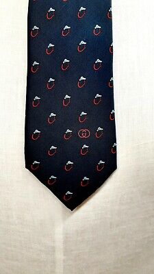 """Vintage Gucci Men's Navy Blue Dog Head Silk Necktie Neck Tie L 58"""" W 3.25"""""""